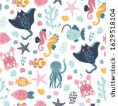 seamless childish pattern with... | Shutterstock .eps vector #1629518104