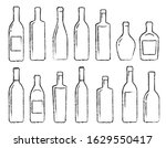 hand drawn black alcohol bottle ... | Shutterstock .eps vector #1629550417