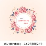 happy valentine's day floral... | Shutterstock .eps vector #1629555244