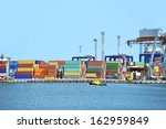port cargo crane and container... | Shutterstock . vector #162959849
