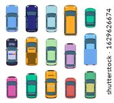 city car top view. city traffic ... | Shutterstock .eps vector #1629626674