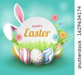 happy easter background with... | Shutterstock .eps vector #1629634174
