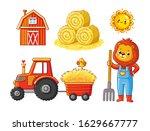 vector set on a farm theme on a ... | Shutterstock .eps vector #1629667777