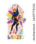 brazil carnival. a girl in a...   Shutterstock .eps vector #1629773131