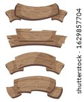 set of wooden banners with... | Shutterstock .eps vector #1629857704