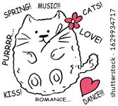 Kawai Spring Cat  Flower In His ...