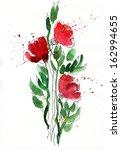 three poppy flowers drawing in... | Shutterstock . vector #162994655