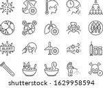 coronavirus line icon set.... | Shutterstock .eps vector #1629958594