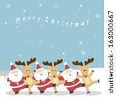 santa claus and the reindeer's... | Shutterstock .eps vector #163000667