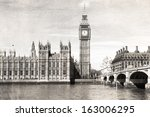 old london   black and white ... | Shutterstock . vector #163006295