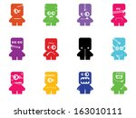 set of twelve color monsters... | Shutterstock .eps vector #163010111