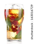 iced tea with raspberries and... | Shutterstock . vector #163016729