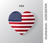 Usa Flag On A Realistic Heart...