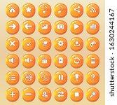 orange button icon set for the...