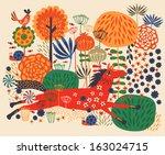 horses on flower field | Shutterstock .eps vector #163024715