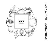 vector frame with peach. hand... | Shutterstock .eps vector #1630257424