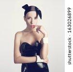 sexy girl wearing bunny costume | Shutterstock . vector #163026899