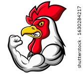 Cartoon Strong Chicken Mascot...