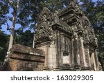 one of the ruins in angkor thom ... | Shutterstock . vector #163029305