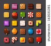 square shaped dessert icon set - stock vector