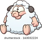 fat sheep clip art. vector... | Shutterstock .eps vector #163032224