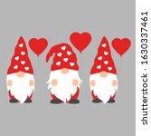 set of cartoon valentine gnomes ... | Shutterstock .eps vector #1630337461