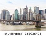 new york city brooklyn bridge... | Shutterstock . vector #163036475
