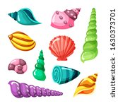 seashell marine. summer sea or... | Shutterstock .eps vector #1630373701