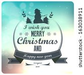 vintage styled christmas card  ... | Shutterstock .eps vector #163038911
