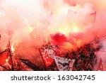 piraeus  greece   nov 10   fans ... | Shutterstock . vector #163042745