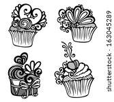 vector set of ornate cakes.... | Shutterstock .eps vector #163045289
