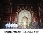 muslim men praying in the... | Shutterstock . vector #163061549