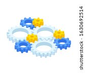 isometric ste of gears and cogs ...