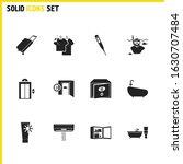 travel icons set with bathtub ...