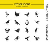 fowl icons set with finch bird  ...