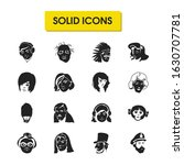 Facial Icons Set With Queens...