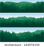 set of vector mountains forest... | Shutterstock .eps vector #163076144