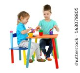 little children playing with... | Shutterstock . vector #163078805