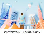 backpacker with various travel... | Shutterstock .eps vector #1630830097