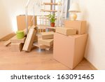 stack of cartons near stairs ... | Shutterstock . vector #163091465