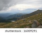 This is a High Mountain Meadow on Mount Evans Colorado at the start of a storm - stock photo
