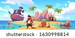 pirate on island with treasure  ... | Shutterstock .eps vector #1630998814