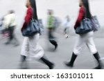 shopping in the city in motion... | Shutterstock . vector #163101011