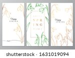 floral vector card with golden...   Shutterstock .eps vector #1631019094