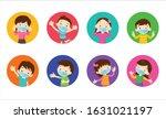 children wearing a surgical... | Shutterstock .eps vector #1631021197