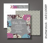 invitation or wedding card with ... | Shutterstock .eps vector #163110089