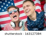 group of happy usa supporters   ... | Shutterstock . vector #163127384