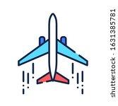 airplane color line icon....