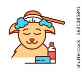 animal spa color line icon....
