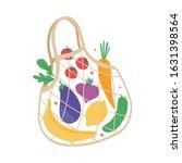 mesh eco bag full of fruit and... | Shutterstock .eps vector #1631398564